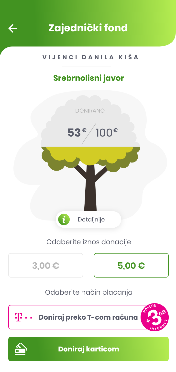 screenshot from GoPlant app, donation