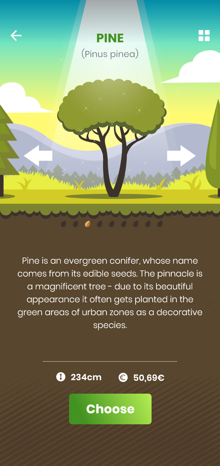 screenshot from GoPlant app, info about trees